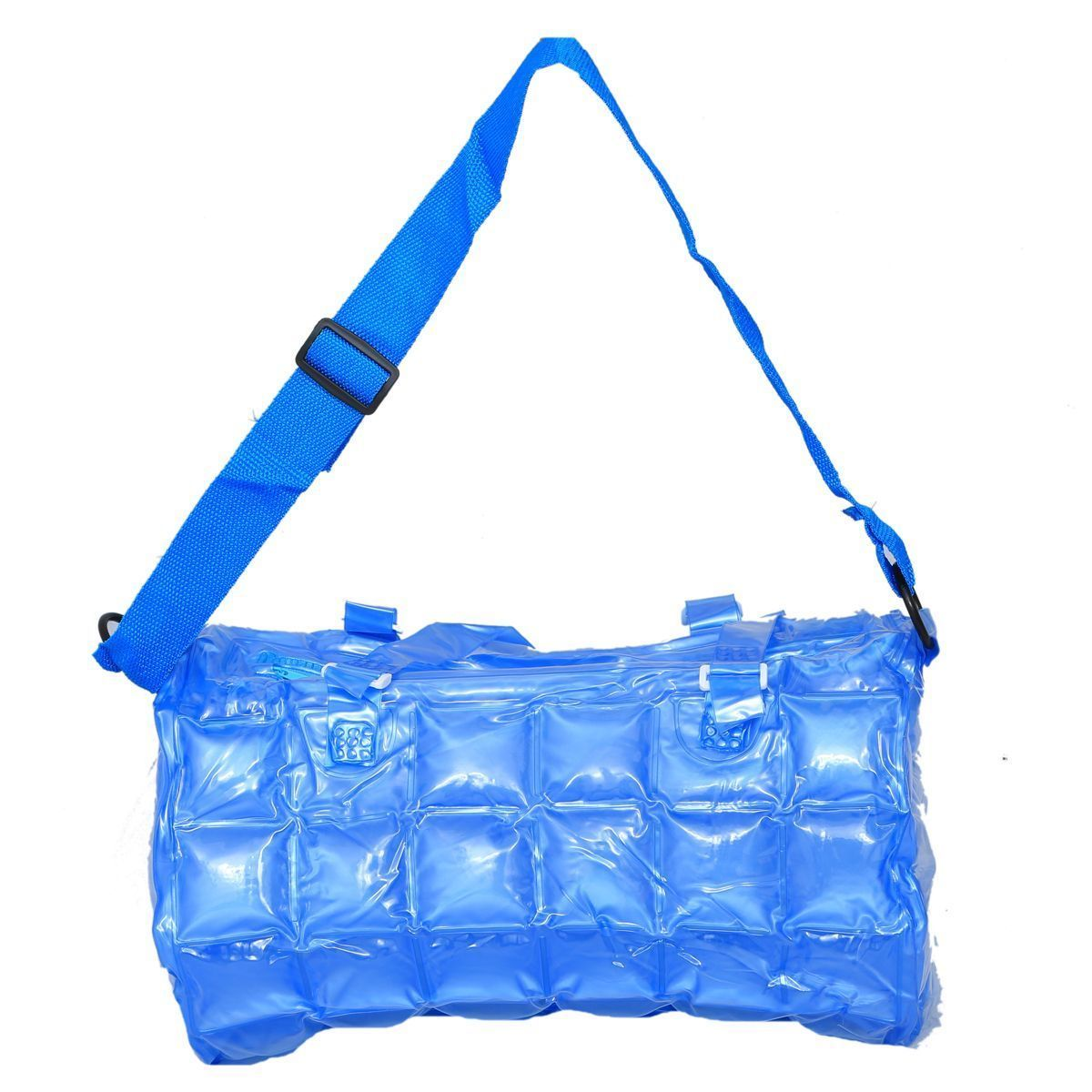 "Kuber Industriesâ""¢ Stylish Shopping Bag,Picnic Bag, Hand Bag in Imported Thick Plastic ,Blow it (Blue) - KI19490"