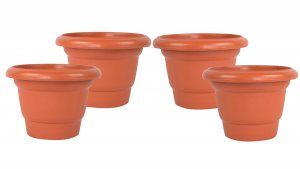 Kuber Industries Plastic Plants/Flower Pot (Brown) Set of 4 Pcs