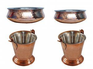 Kuber Industries Handmade Hammered Copper Steel /Copper Gravy Bucket/Balti 2 Pcs with 2 Handi Bowl For Serving Dishes (Buck43)