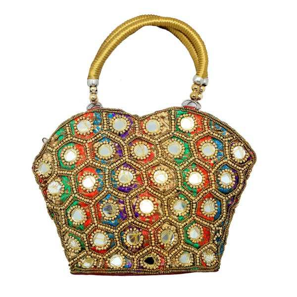 Kuber Industries™ Rajasthani Ethnic Mirror Work Handheld Bag,Small (Multicolor) - BG15