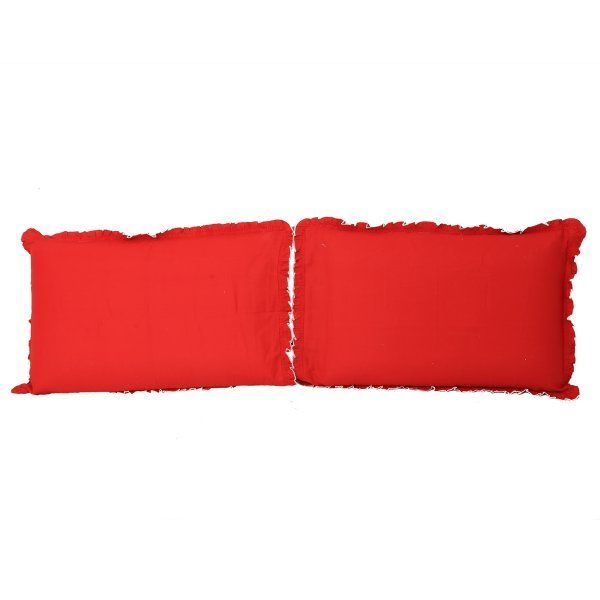 "Kuber Industriesâ""¢ Solid Plain Premium Cotton Pillow Cover with Frill Flange,Set of 2 - Cherry Red - KU79"