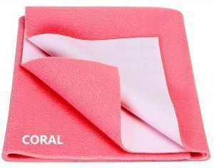 "Kuber Industriesâ""¢ Waterproof Baby Bed Protector, Dry Sheet, Reusable Mat Large Size 100*70 Cm (Coral) KI07011"