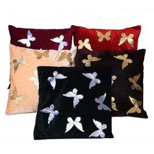 Kuber Industries™ Pretty Velvet Multicolor Butterfly Cushion Cover Set of 5 - 16*16 Inches