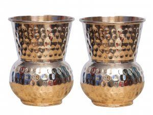 Kuber Industries Hammered Copper Mughlai/Dholak/Drinking Glass/Cup Tumbler Drinkware, Serveware Set of 2 Pcs (Dholak01)