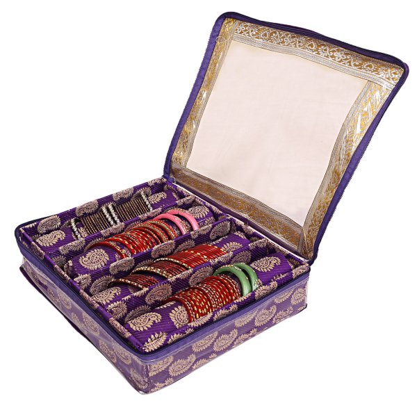 Kuber Industries Wooden 4 Rod Bangle Box (Purple) Set of 1 Pc