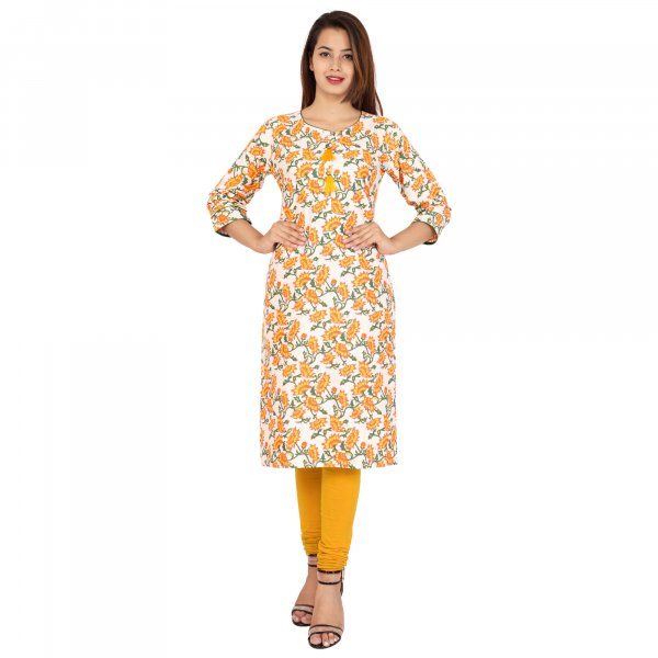 Kuber Industries Women Floral Print Straight Kurta  (Yellow) Floral Print