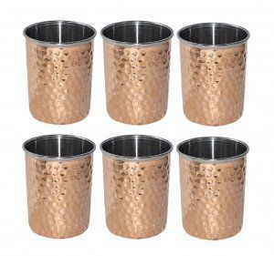Kuber Industries Hammered Copper Drinking Glass/Tumbler in Inner Stainless Steel Material- Set of 6 Pcs 260 ML Each Ayurvedic Health benefit Drinkware  (COPS29)
