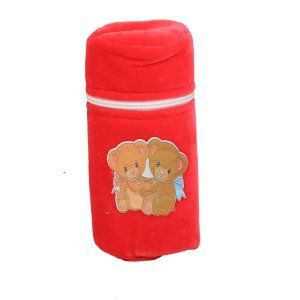 "Kuber Industriesâ""¢ Baby Soft Feeding Bottle Cover Velvet with Zip (Red) - KUB360"