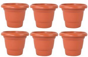 Kuber Industries Plastic Plants/Flower Pot (Brown) Set of 6 Pcs