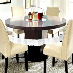 "Kuber Industries PVC Waterproof 6 Seater Round Table Cover with Silver Lace 72"" x 72""  (Silver)-CTKTC3549"