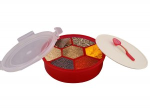 Kuber Industries Trueware Spice Masala Container (Red)-CTKTC3578