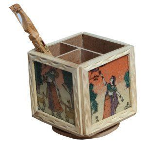 Kuber Industries™ Handmade Wooden Gem Stone Painted Revolving Pen Pencil Card Holder Stand, Handicraft For Home Decor, Gift Item (With Free Pen) Hand12