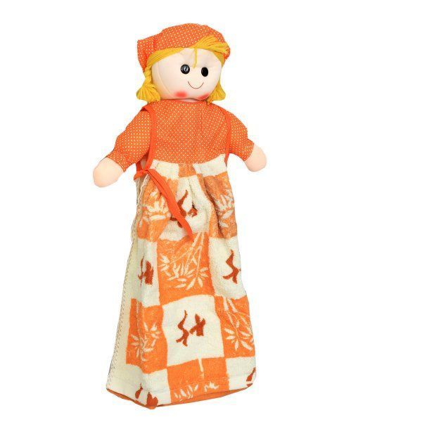"Kuber Industriesâ""¢ Cute Doll Stiched with Washbasin Hand Towel For Kitchen & Bathroom,Multipurpose Towel Both Side (Assorted) - KI19582"
