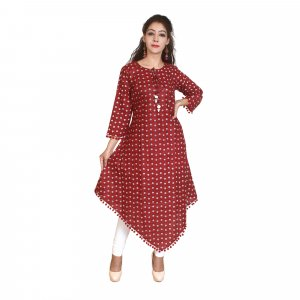 Kuber Industries Women Abstract Asymmetric Kurta  (Maroon)