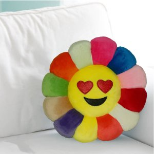 Kuber Industries Feather Emoji Smiley Cushion 40x40 CM (Multi) Set of 1 Pc-CTKTC1501