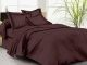 Kuber Industries 180 TC Satin Self-Stripe Double Bedsheet with 2 Pillow Covers (Brown)