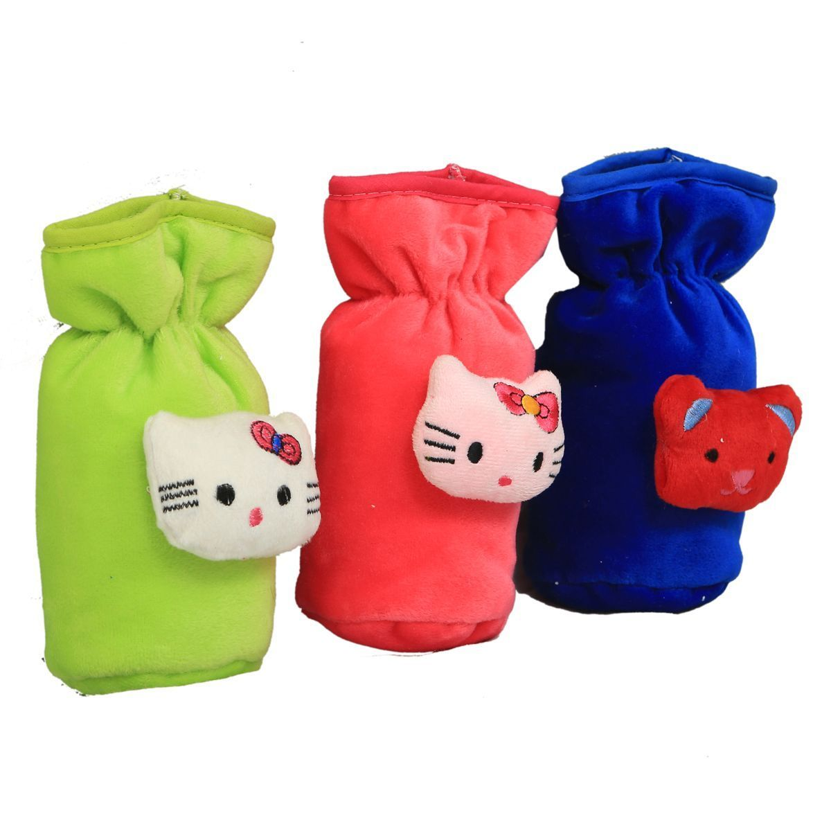 "Kuber Industriesâ""¢ Baby Soft Feeding Bottle Cover Velvet with Elastic Neck - Set of 3 - KUB380"