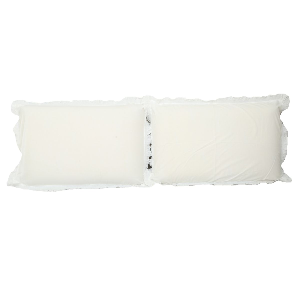 "Kuber Industriesâ""¢ Solid Plain Premium Cotton Pillow Cover with Frill Flange,Set of 2 - White - KU76"
