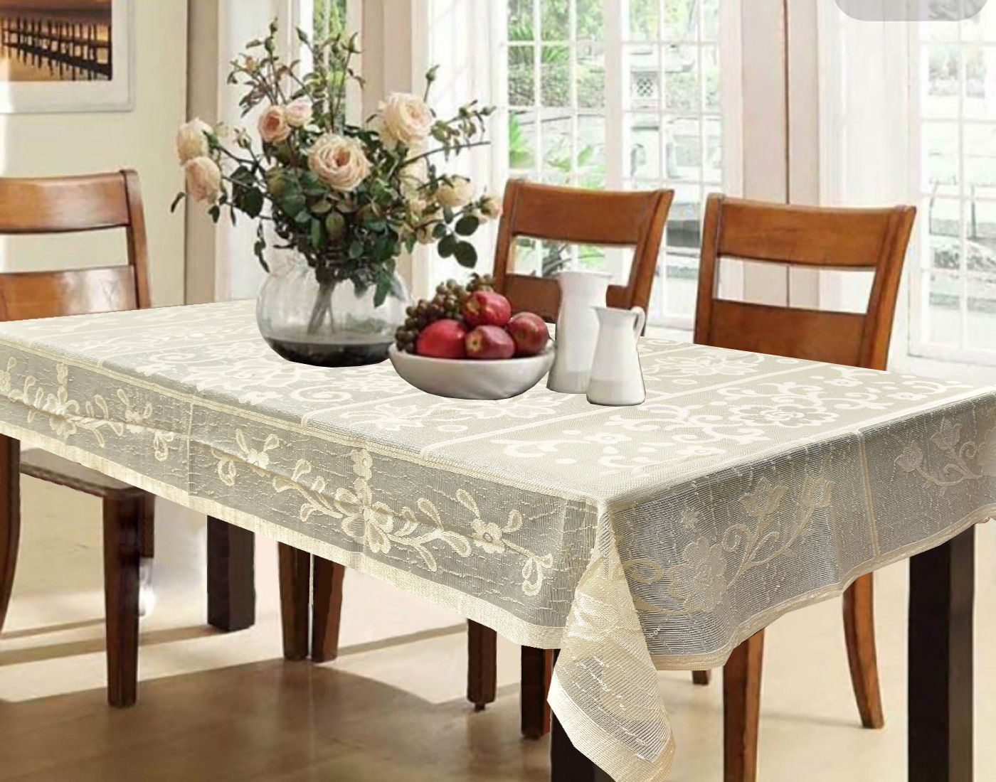 Kuber Industries™ Cream Shining Cloth Net Dining Table Cover 6 Seater 60*90 Inches