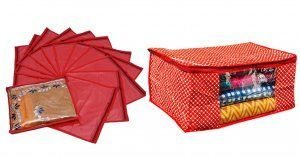 Kuber Industries Cotton Saree Cover And Single Packing Saree Cover 12 Pcs Set (Red)