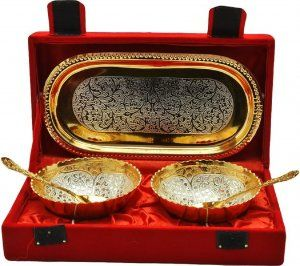 Kuber Industries Gold Plated 2 Bowls, 2 Spoons, 1 Tray Set with a Wooden Box (Gold)-CTKTC4428