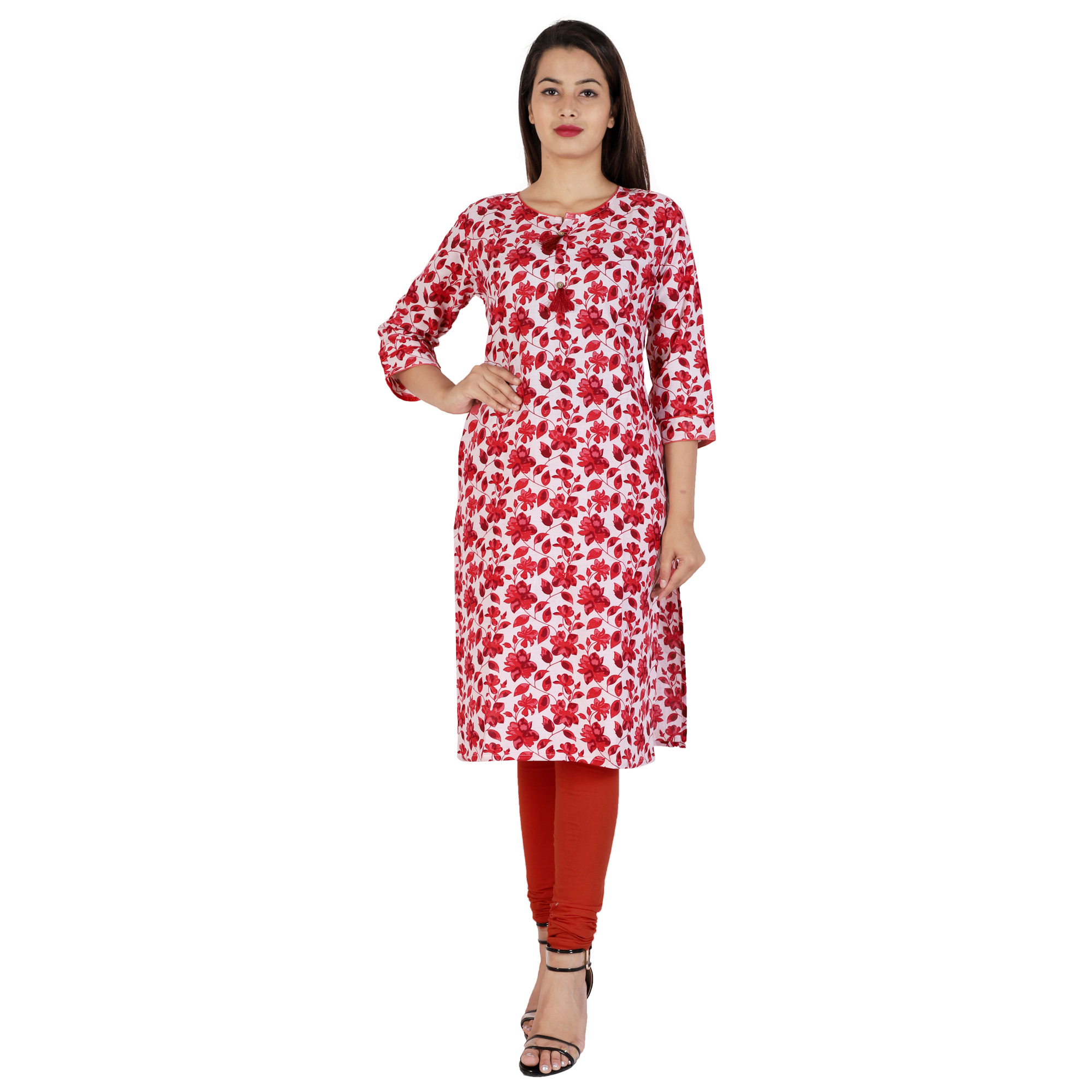 Kuber Industries Women Floral Print Straight Kurta  (Red)