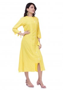 Kuber Industries Women Designer Neck Yellow Printed A-Line Kurta