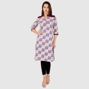 Kuber Industries Women Designer Nehru Neck Purple Printed Straight Kurta