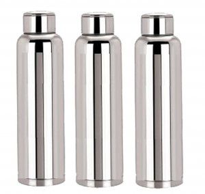Kuber Industries™ Stainless Steel Fridge Water Bottle/Refrigerator Bottle/Thunder (1000 ML)-Kitchenware Set of 3 Pcs (Code-BT018)