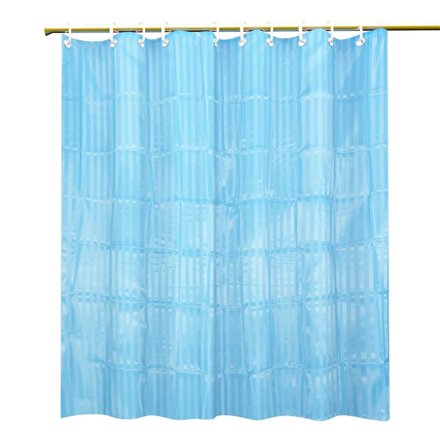 Kuber Industries 7 Feet Self Design Shower Curtain with 8 Hooks (Multi)
