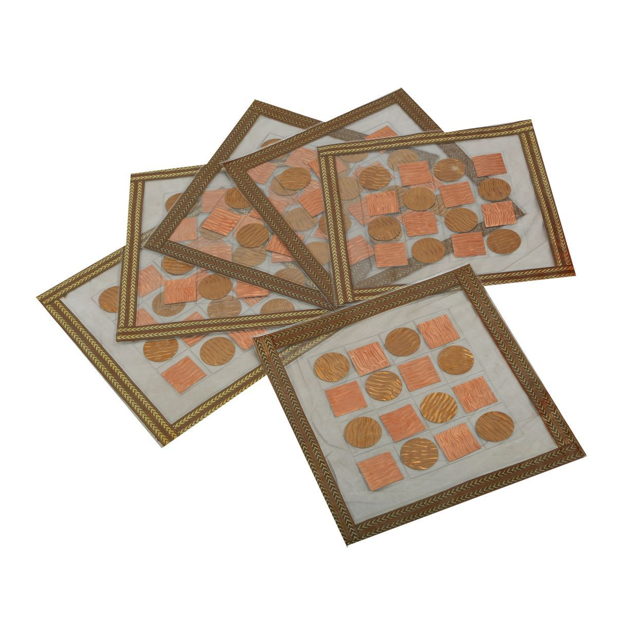 """Kuber Industriesâ""¢ Bed Side Table Mat,Table Mat Set of 6 Pcs in laminated Patch Design (Square 30 x 30 Cm) KU168 """