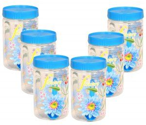 Kuber Industries Plastic 500 ml Kitchen Container set (Blue) Set of 6 Pcs