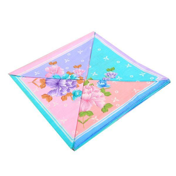 Kuber Industries 100% Cotton Women's Handkerchief Set of 12 Pcs (Flower Design 30*30 Cm)  -KU71