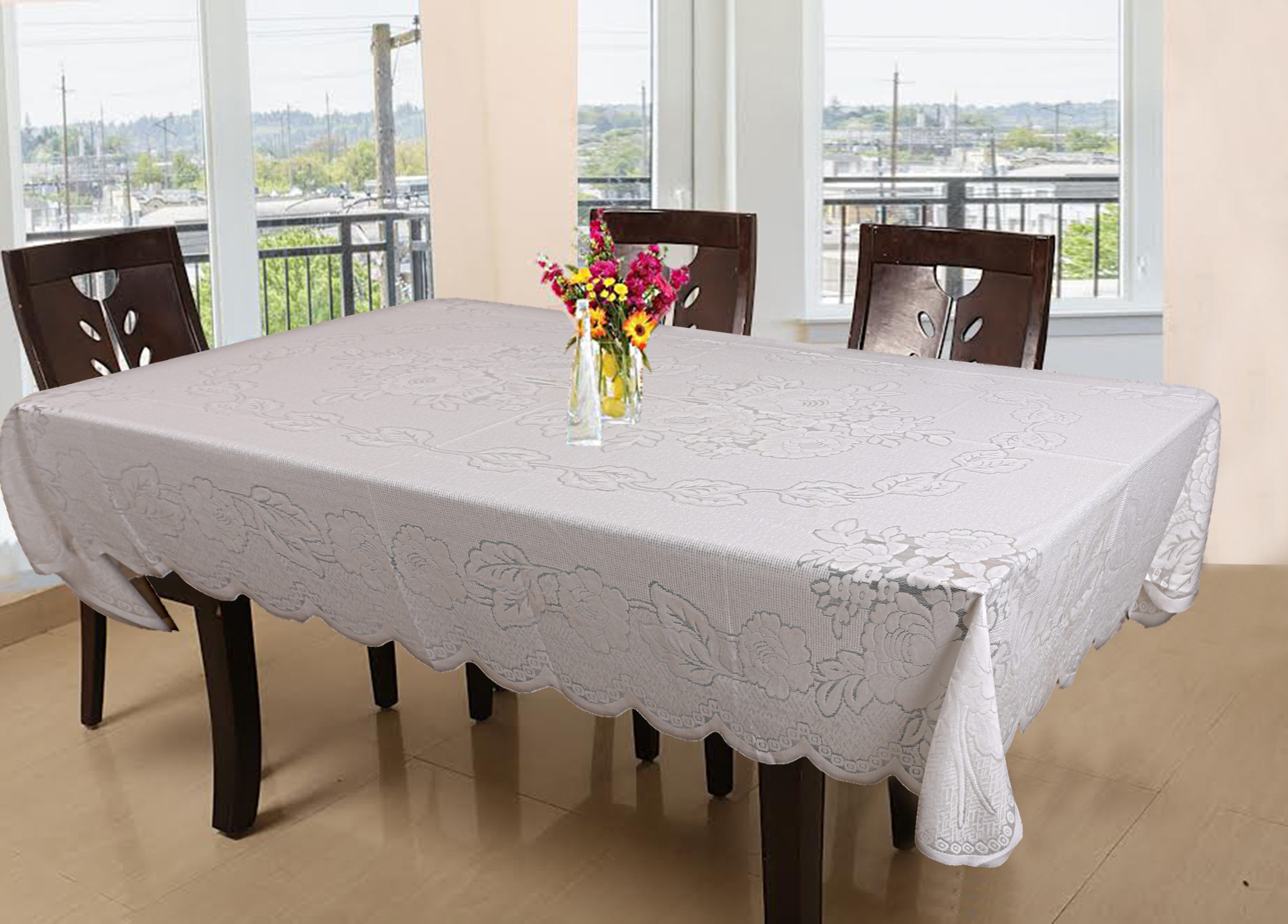 Kuber Industries Floral Design Cotton 6 Seater Dining Table Cover 60x90 Inches (White)-CTKTC1262