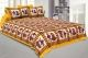 Kuber Industries Cotton 144 TC Double Bedsheet with 2 Pillow Covers (Yellow)Dandiya Design