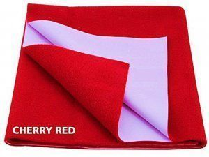 "Kuber Industriesâ""¢ Waterproof Baby Bed Protector, Dry Sheet, Reusable Mat Large Size 100*70 Cm (Red) KI07007"