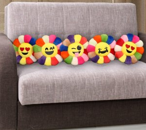 Kuber Industries Feather Emoji Smiley Cushion 40x40 CM (Multi) Set of 5 Pcs-CTKTC1511