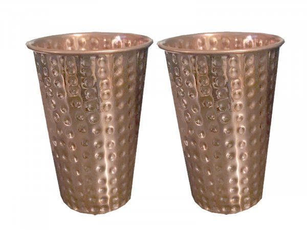 Kuber Industries Hammered Big Size Copper Drinking Glass/Tumbler/Lassi Glass 300 ML each- Set of 2 Pcs Ayurvedic Health benefit Drinkware (Lassi02)