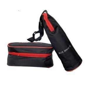 "Kuber Industriesâ""¢  Insulated Lunch Box Cover & Water Bottle Case Cover, Carry Bag 1 Ltr (Black) - KI19516"