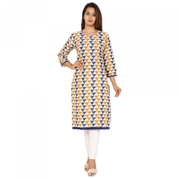 Kuber Industries Women Geometric Print Straight Kurta