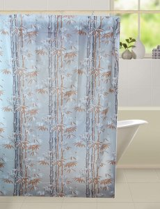 Kuber Industries™ Floral Design PVC Premium Shower Curtain - 7 Feet -84*54 Inches- 8 Hooks SHW13