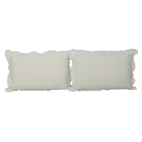 "Kuber Industriesâ""¢ Embroided Premium Cotton Pillow Cover with Frill Flange,Set of 2 - White - KU99"