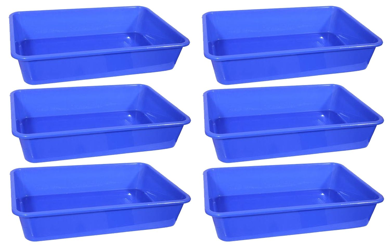 Kuber Industries Plastic Big size Fruit/Vegetable/Stationary Tray (Assorted) Set of 6 Pcs