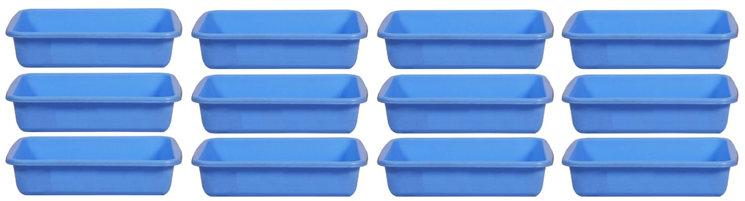 Kuber Industries Plastic Small Size Fruit/Vegetable/Stationary Tray (Assorted) Set of 12 Pcs