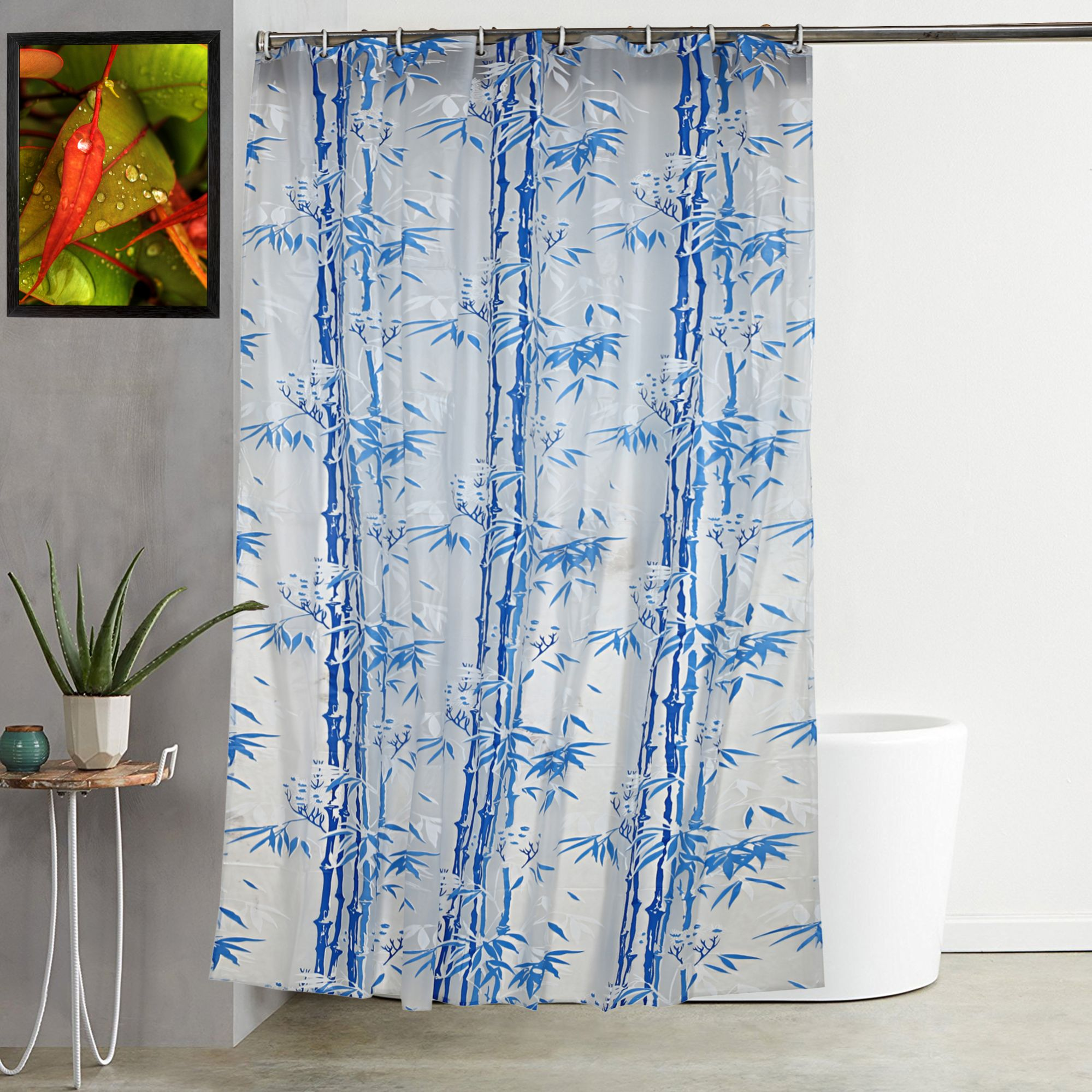 Kuber Industries PVC 7 Feet Shower Curtain with 8 Hooks (Blue)-CTKTC3911