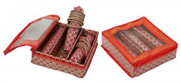 Kuber Industries™ 3 Roll Brocade Bangle box With Hard Board Support Set of 2 Pcs Pink (Code-COM005)