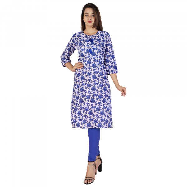 Kuber Industries Women Floral Print Straight Kurta  (Blue)