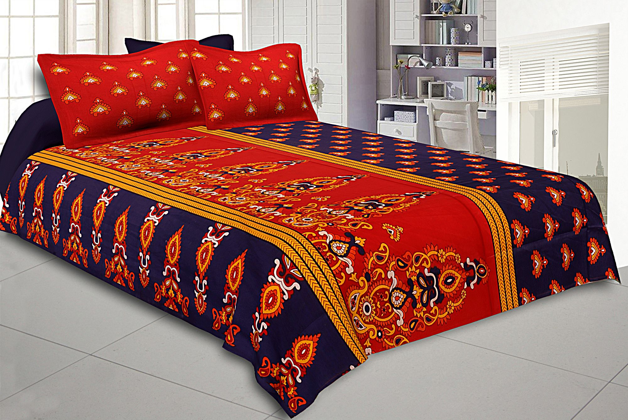 Kuber Industries Cotton Double Bed Sheet with Two Pillow Covers -  Blue