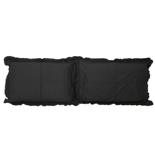 "Kuber Industriesâ""¢ Solid Plain Premium Cotton Pillow Cover with Frill Flange,Set of 2 - Black - KU101"