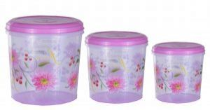 Kuber Industries Big Plastic Container Set/Storage Box Set of 3 Pcs (11000 Ml & 7500 Ml & 5000 Ml ) Contain10